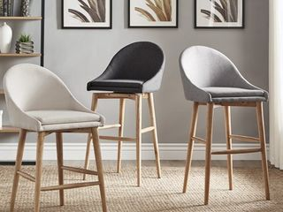 Natoma Natural Mid Century Wood Stool TOPS ONlY NO lEGS  Set of 2  iNSPIRE Q Modern Retail 399 99