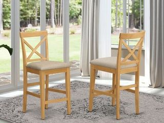 East West Copper Grove X Back Pub Barstool Oak with Fabric Upholstered  Set of 2  Retail   151 99