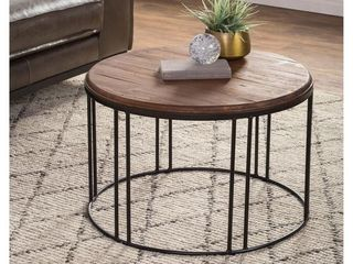 Burnham Reclaimed Wood and Iron Round Coffee Table by Kosas Home  Retail 261 72