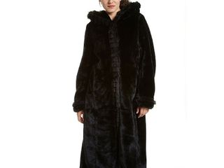 Black   l  Excelled Women s Faux Fur Hooded Full length Coat  Retail 125 99