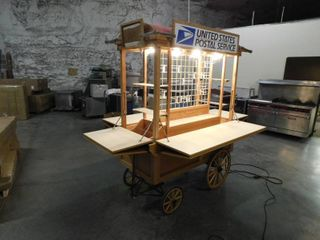 B W Woodcrafter lighted Rolling Kiosk