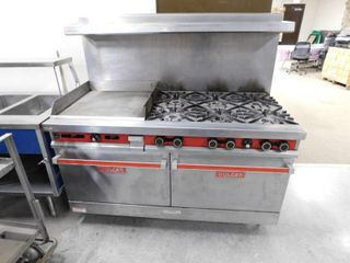 Vulcan 60  Double Oven Range 6 Burner With Griddle