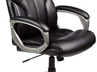 Amazon Basics High Back Executive  Swivel  Adjustable Office Desk Chair with Casters  Black Bonded leather