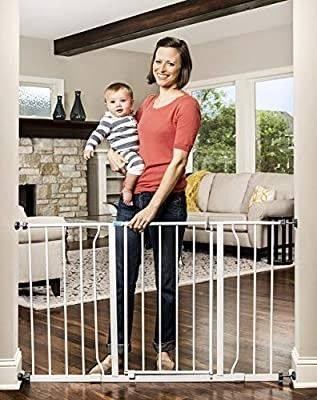 Regalo Easy Open 47 Inch Super Wide Walk Thru Baby Gate  Bonus Kit  Includes 4 Inch and 12 Inch Extension Kit