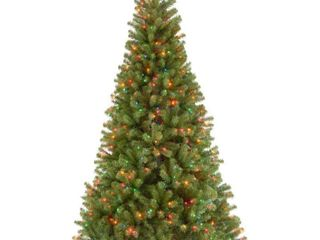 National Tree 7 1 2  North Valley Spruce Tree  Hinged  550 Multi Colored lights  NRV7 301 75