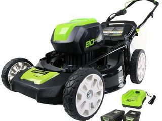 Greenworks PRO 21 Inch 80V Cordless lawn Mower  Two 2 0AH Batteries