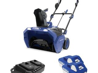 Snow Joe 24V X2 20SB 48 Volt iON  Cordless Snow Blower Kit 20 Inch W  2 x 4 0 Ah Batteries and Charger