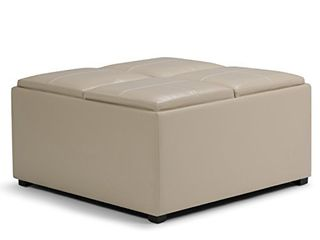 SIMPlIHOME Avalon 35 inch Wide Square Coffee Table lift Top Storage Ottoman  Cocktail Footrest Stool in Upholstered Satin Cream Faux leather for the living Room  Contemporary