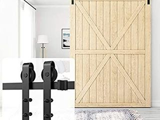 Homlux 13ft Heavy Duty Sturdy Sliding Barn Door Hardware Kit Single Door   Smoothly and Quietly   Simple and Easy to Install   Fit 1 3 8 1 3 4  Thickness Door Panel Black J Shape Hangers