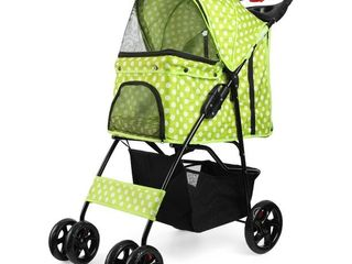 Flexzion Pet Stroller  Dot Green  Dog Cat Small Animals Carrier Cage 4 Wheels Folding Flexible Easy to Carry for Jogger Jogging Walking Travel Up to 30 Pounds with Sun Shade Cup Holder Mesh Window