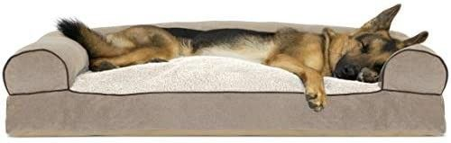 Furhaven Pet Dog Bed   Faux Fleece and Chenille Soft Woven Pillow Cushion Traditional Sofa Style living Room Couch Pet Bed with Removable Cover for Dogs and Cats  Cream  Jumbo