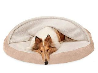 Furhaven Pet Dog Bed   Orthopedic Round Cuddle Nest Faux Sheepskin Snuggery Blanket Burrow Pet Bed with Removable Cover for Dogs and Cats  Cream  44 Inch