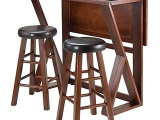 Winsome 3 Piece Harrington Drop leaf High Table with 2 Cushion Round Seat Stools  24 Inch  Brown  Stools Only