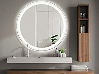 SMART COOM lED lighted Bathroom Wall Mounted Mirror Makeup Vanity 3000K High lumen CRI90 Warm White lights Anti Fog Dimmable Button IP44 Waterproof  32 x 32
