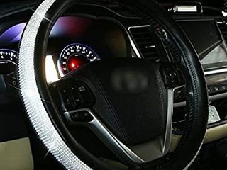 Diamond leather Steering Wheel Cover for Women Girls with Bling Bling Crystal Rhinestones  Universal Fit 15 Inch Anti Slip Wheel Protector  Silver