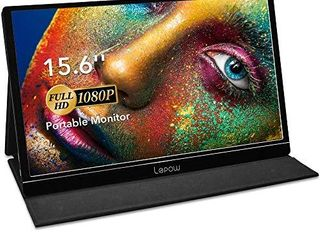 Portable Monitor   lepow 15 6 Inch Full HD 1080P USB Type C Computer Display IPS Eye Care Screen with HDMI Type C Speakers for laptop PC PS4 Xbox Phone Included Smart Cover   Screen Protector Black
