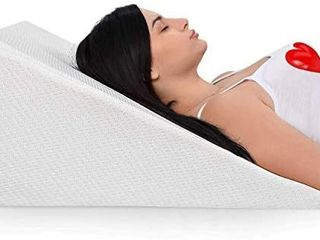 Bed Wedge Pillow With Memory Foam Top a Ideal For Comfortable   Restful Sleeping a Alleviates Neck   Back Pain  Acid Reflux  Snoring  Heartburn  Allergies   Versatile a Removable  Washable Cover 12 in