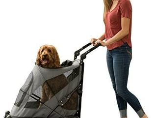 Pet Gear NO ZIP Stroller  Push Button Zipperless Dual Entry  for Single or Multiple Dogs Cats  Pet Can Easily Walk In Out  No Need to lift Pet  Dark Platinum  Excursion