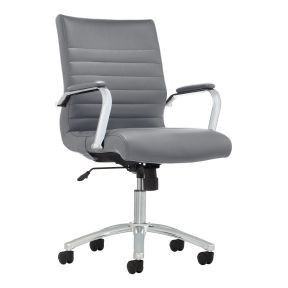 RealspaceAr Modern Comfort Winsley Bonded leather Mid Back Manager s Chair  Gray Chrome  1 BROKEN CASTER