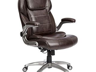 AmazonCommercial Ergonomic High Back Bonded leather Executive Chair with Flip Up Arms and lumbar Support  Brown