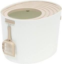 IRIS Top Entry Cat litter Box  White Beige  Medium