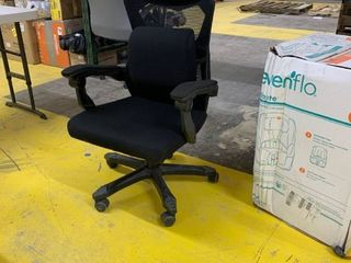 Black Mesh Office Chair With Wheels  Arms  and lumbar Pillow