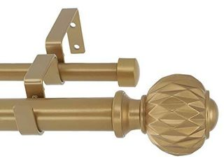 MERIVIllE 1 Inch Diameter Double Window Treatment Curtain Rod  Castani Finial  48 inch to 84 inch Adjustable  Royal Gold  MISSING MOUNTING HARDWARE