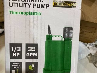 Zoeller 1 3 HP Automatic Thermoplastic Submersible Utility Sump Pump 1043 0006