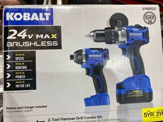 Kobalt 2 tool 24 volt Max Brushless Power Tool Combo Kit With Charger   Battery