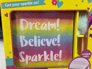Rainbow Dreams  Journal Book and Pom Pom Pen Set