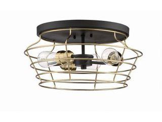 50683 FBSB Craftmade lighting Thatcher   Three light Cage Flush Mount Satin Brass Shade Flat Black