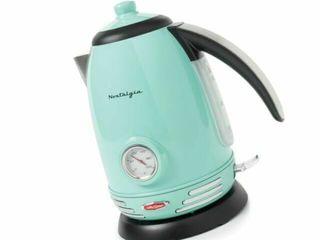 Nostalgia RWK150AQ Retro 1 7 liter Electric Water Tea Kettle w  Thermostat  Aqua  Retail  79 99