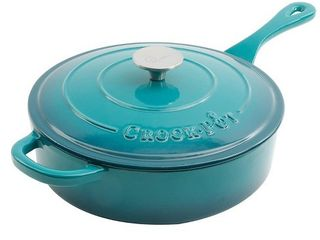 Crock Pot 112013 02 Artisan 3 5 Quart Enameled Cast Iron Pan and lid  Teal Ombre  Retail  79 96