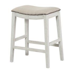 lexicon 24 Inch Height Wooden Counter Stool Faux leather Seat Barstool  White  Retail  189 00
