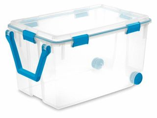 Sterilite 19434303 120 Quart Clear Plastic Storage Box   lid w  Blue latches  Retail  53 33