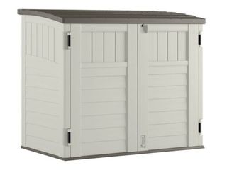 Suncast Horizontal 4 ft  4 in  W x 2 ft  8 in  D Storage Shed Stow Away  Ivory  Retail  299 00