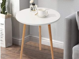 Hat On Small Round Side Table   White   Retail   35 99