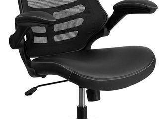 Flash Furniture Desk Chair with Wheels   Swivel Chair with Mid Back Black Mesh and leatherSoft Seat for Home Office and Desk  110 95