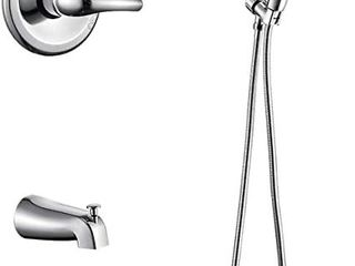 AIHOM Shower Faucet Set With Tub Spout Shower Trim Kit With Pressure Balanced Valve  Dual Function 5 Spray Touch Clean Handheld Shower Head Combo  Chrome Retail   109 99