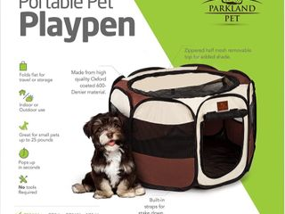 Parkland Pet Portable Foldable Playpen Exercise Kennel Dogs Cats Indoor Outdoor Removable Mesh Shade Cover  Small   Retail   23 99