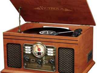 Victrola 6 in 1 Nostalgic Bluetooth Record Player with 3 speed Turntable with CD and Cassette   Mahogany Retail   89 99