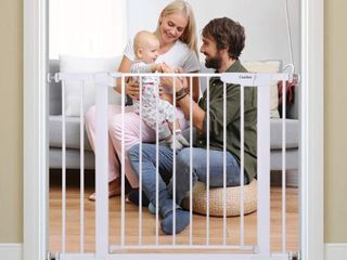 Cumbor 40 6 inch   Auto Close Safety Baby Gate  Durable Extra Wide Child Gate for Stairs Doorways  Easy Walk Thru Dog Gate for House  Includes 4 Wall Cups  2 75 Inch and 5 5 Inch Extension   White Retail   55 99