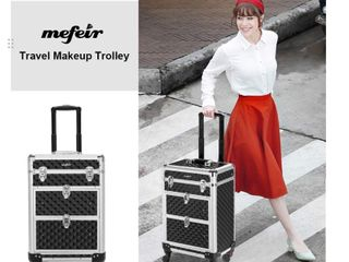 Mefeir Rolling Makeup Train Case Aluminum Cosmetic luggage lockable Travel Case Trolley   Retail  85 99