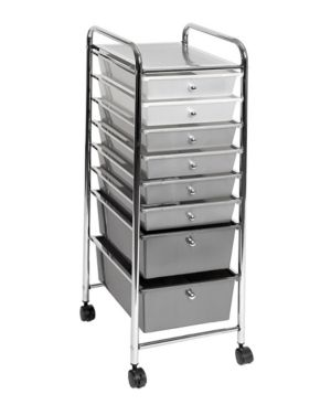 8 Drawer Storage Bin Organizer Cart  White Gray Black Gradient by Seville Classics Retail   63 50
