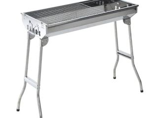 Outsunny 28  Stainless Steel Portable Folding Charcoal BBQ Grill