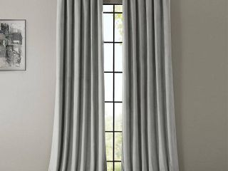 PAIR OF Exclusive Fabrics Signature Silver Grey Velvet Blackout Curtain Panel