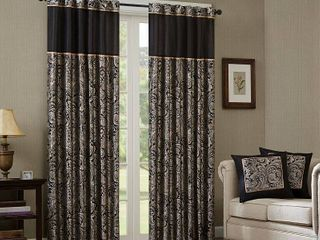 50 W X 108 l   Black  Madison Park Whitman Curtain Panel Pair