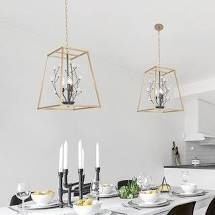 PAIR OF Modern Gold 3 light Crystal Frame lantern Chandelier Ceiling Pendant lights Retail 169 99
