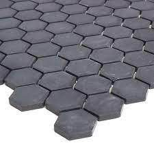 Porcelain 1 inch Hexagon Mosaic Tile in Black   12x24 Retail 159 99