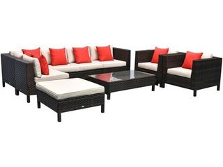 BOX 6 6 ONlY Outsunny 9 Piece Rattan Wicker Outdoor Patio Furniture Sectional Sofa Set with Contemporary Design   Supportive Comfort Retail 1519 99